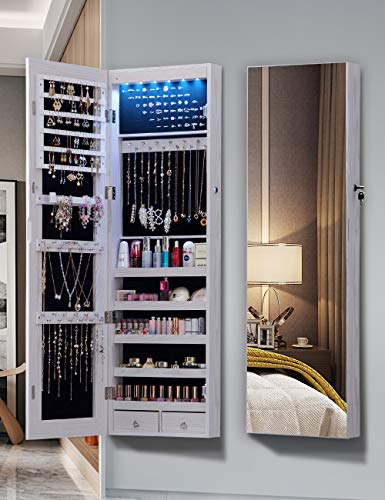 QUANYOU 6 LED Lights Lockable Full Mirror Full Screen Jewelry Organizer Wall Mounted/Door Mounted/Jewelry Cabinet Jewelry Armoire with Mirror/Full Length Mirror Hanging Mirror 7025 (White)