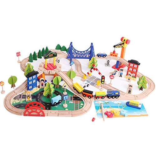 LKOER Pistas de Tren de Madera Set para niños niños pequeños y niñas 3, 4, 5 años de Edad y Arriba - 108 Piezas de la Pista de Tren de Madera ... jinyang ( Color : Natural , Size : One Size )