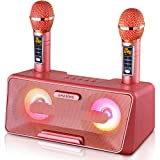 Portable Karaoke Machine for Kids & Adults - Best Birthday or Holiday Gift w/Bluetooth Speakers, 2 Wireless Microphones, LED Lights, Tablet Holder, PA System & Karaoke Song Mode! (Pink)