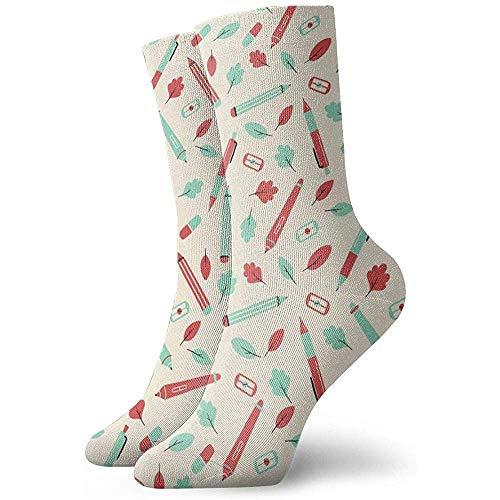 Kevin-Shop Pencil Tablet Leaf enkelsokken Casual Cozy Crew sokken voor mannen, vrouwen, kinderen