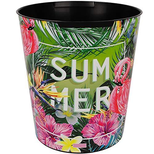 Papierkorb / Behälter - Flamingo & Tropische Blumen / Palmen - 10 Liter - wasserdicht - aus Kunststoff - Ø 28 cm - großer Mülleimer / Eimer - Abfalleimer - Au..