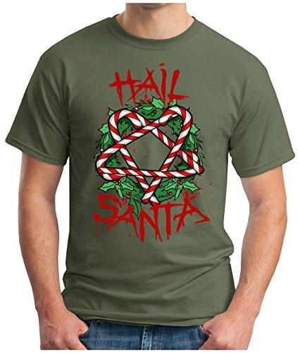 OM3 - Hail-Santa - T-Shirt Blood Santa Claus Satan Black Metal 666 Pentagram Fucking Xmas Geek, XL, Oliv