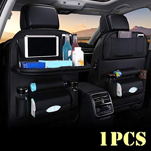 1 Pack Car Back Seat Protector Kick Mats for Kids PU Leather Car Storage Organizer with Foldable Table Tray Tablet Holder 9 Pockets Car Travel Accessories Organizer Airsnigi Car Backseat Organizer