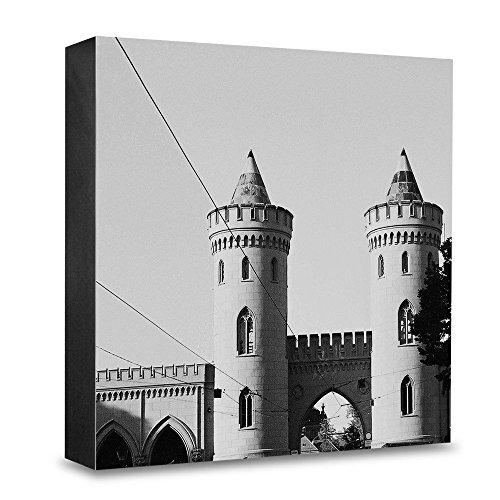COGNOSCO HG-P115 foto-houten blok medium-15 x 15 cm muurschildering met architectuur-fotografie Potsdam-Nauener poort, hout, zwart-wit, 15x15cm