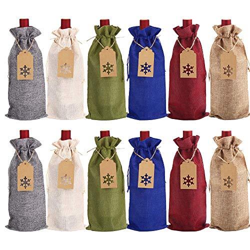 SULOLI 12 Jute-Weinbeutel, Weinflaschen-Geschenktüten mit Kordelzug für blinde Weinverkostung