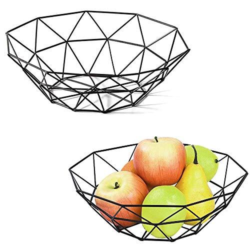 2 Pezzi Cesto di Frutta,Cesto Portafrutta,Fruttiere in Metallo,per Frutta, Verdura, Pane, Torta ,Cosmetici,Asciugamani (Nero)