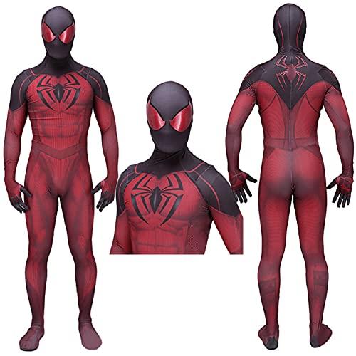 NVHAIM Traje de Cosplay de Adultos de superhéroe, Cuerpo de Spiderman COS Padre-Niño Ropa de Rendimiento Jumpsuits Juego de Estilo 3D PS4,Men XXXL