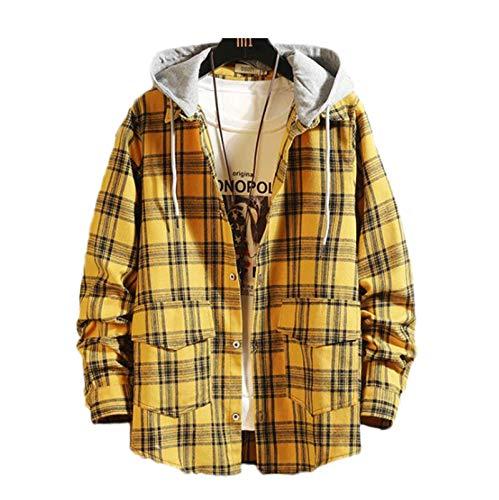 Męska koszula w kratę z długim rękawem, odpinana bluza z kapturem w kratę luźna biznesowa sukienka na co dzień Stylowa klasyczna koszula Regular Fit z kapturem Parka płaszcz w kratę Koszula robocza