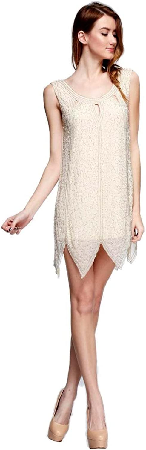 Champagne colord Sleeveless Sparkling Beaded Cocktail Mini Dress, Large
