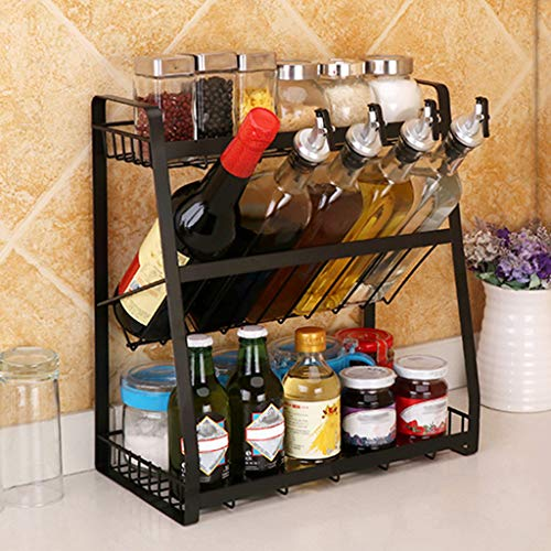 Spice Rack Organizer for Cabinet Kitchen Spice Organizer Standing Shelf 3Tier Metal Seasoning Rack Jars Bottle Storage Holder