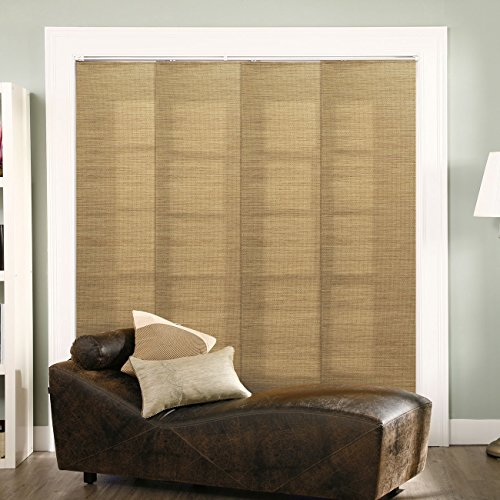 "Chicology Adjustable Sliding Panels Cut to Length Vertical Blinds, Up to 80"" W X 96"" H, French Sandalwood (Privacy & Natural Woven)"