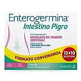 Enterogermina Intestino Pigro, integratore alimentare a base di probiotici, prebiotici ed estratti vegetali, per la regolarità del transito intestinale, bipack 10 bustine + 10 bustine