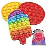 KPRICE - Pop-it Barato Helado - Push Pop Bubble - popit antiestres niños Cube - Poppit Fidget Toys Set - Bolsa de transporte - Pack 3 - Juguete Sensorial Antiestrés - Multicolor - popi Relajante
