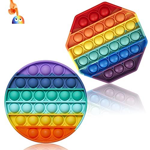 Wancala Pop Fidget Toy Sensory Fidget Toys, juego de 2 juguetes antiestrés de silicona Fidget Toy Pack de Autismo Necesidades Especiales Esqueeze Toy Rainbow Toys para niños adultos, redondo, octogono
