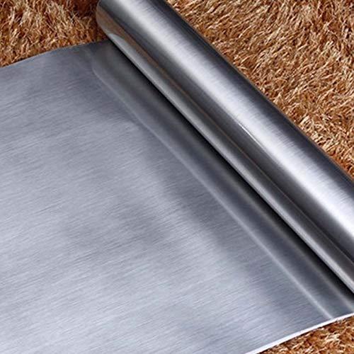 fenjinsheng Carrelage Adhesif Mural 60X300Cm Brossé Argent Film Décoratif Moderne PVC Autocollant Adhérent pour Armoires De Cuisine Meubles Autocollants DIY Art Décor