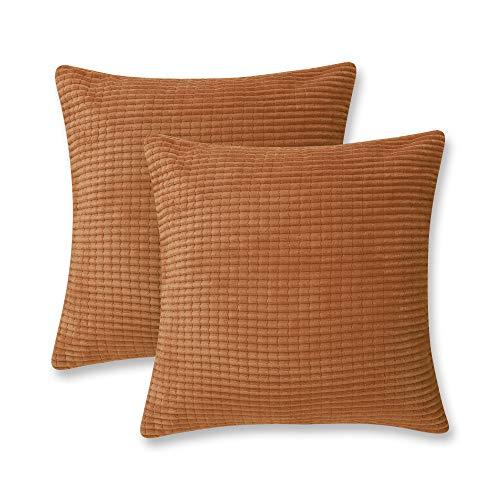 Deconovo Super Soft Corduroy Grid Throw Pillowcases Square Pillow Casess Cushion Protectors Cushion Covers for Sofa 55cmx55cm 22x22 Inches Orange 2 Pieces