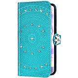 Uposao Kompatibel mit Samsung Galaxy S10 Plus Hülle Glitzer Diamant Strass Mandala Blumen Leder Hülle Flip Schutzhülle Handyhülle Brieftasche Wallet Bookstyle Case Tasche Magnet Kartenfach,Grün