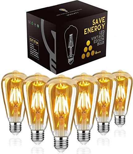 Led Vintage Glühbirne, Woowtt 6W Edison Glühbirne E27, Led Filament Lampe, Retro Amber Warm Licht, 600 Lumen, ST64, 6W(60W Äquivalent) - 6 Stück