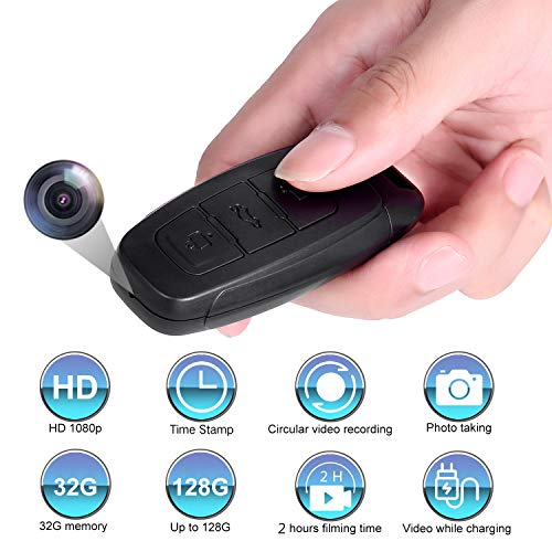 Hidden Camera, HD 1080P Spy Camera,Car Key Camera,with 32GB Memory Card,2 Hours Video Taking Battery Life,for Business Conference and Security