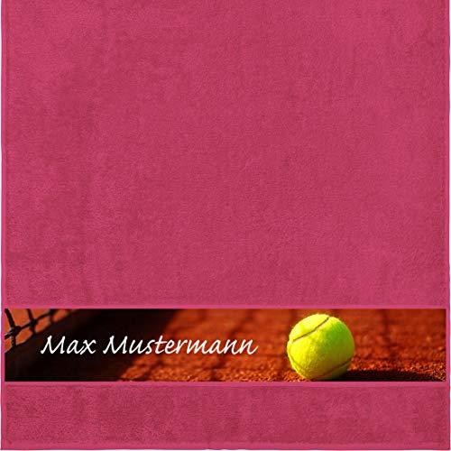 Manutextur Duschtuch mit Namen - personalisiert - Motiv Sport - Tennis - viele Farben & Motive - Dusch-Handtuch - Fuchsia - Größe 70x140 cm - persönliches Geschenk mit Wunsch-Motiv und Wunsch-Name
