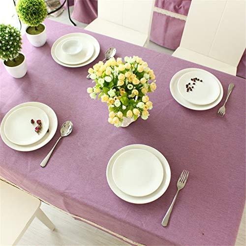 DHHY Coton et Lin Nappe Solide Couleur Rectangulaire Poussière Table Basse Tissu Maison Hôtel Décoration B 135X135cm