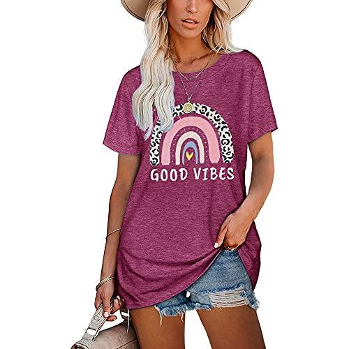 Camiseta Mujer Tops Mujer Dulce Elegante Dibujo Animado con Estampado De Arco Iris Cuello Redondo Manga Corta Vacaciones De Verano Moda Casual Suelta Cómoda Mujer Blusa C-Purple XXL
