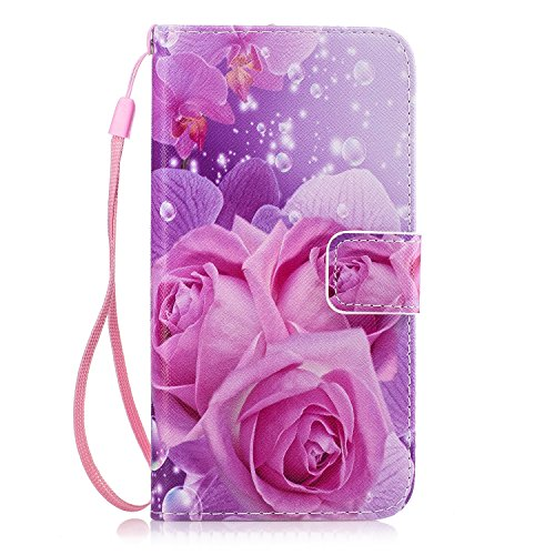 Galaxy Grand Prime Case, GNT PU Leather Stand Wallet ID Holders Flip Folio TPU Soft Bumper Case Cover for Samsung Galaxy Grand Prime G5308/G530H(Flowers 1)
