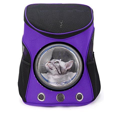 Ducomi Window - Zaino con Oblò - Nylon Rigido e Bocchette di Aerazione per Cani e Gatti - Trasportino per Cane e Gatto Massima Stabilità e Confort - Regalo del Valore di 15 Euro (M, Purple)