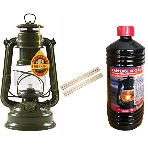 Set Feuerhand 276 Sturmlaterne Oliv + Petroleum + Docht