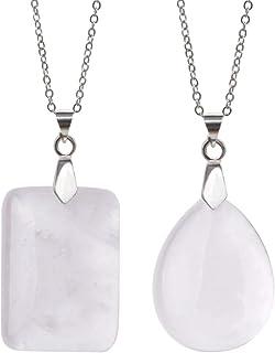 Lullabb Couple Stone Pendant Necklace Teardrop Waterdrop Crystal Jewelry for Women Men Rectangle Gemstone Chakra Healing P...