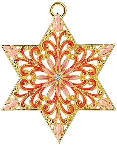 Matashi Traditional Star of David Hanging Ornament (Pewter)Classic Wall Decor for Living Room Beautiful Gold-Plated Home Decoration Hand-Painted Pink, Red and Gold Hanukkah New Year Holiday Decoration