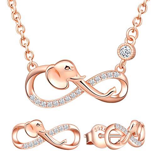 Yumilok Conjunto de Collar y Pendientes, Collar con Colgante de Elefante y símbolo de Infinito y Pendientes en Plata 925, joyería para Mujeres y niñas, Incrustaciones de circonita cúbica, Oro Rosa