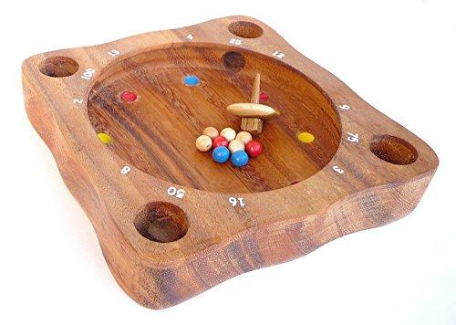 Logica Spiele Art. Tiroler Roulette - Brettspiel aus Edlem Holz - Gesellschaftsspiel - Aktionsspiel - 20 x 20 cm