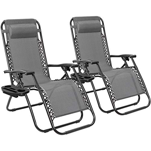 Furmax Zero Gravity Chair Patio Lounge Chair Portable Outdoor Folding Chair Adjustable Sun Lounger Reliner Chair for Backyard Deck Poolside Beach with Pillow and Cup Holder Tray Set of 2 (Gray)