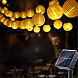 Farolillos Solares Exterior, Geemoo 6M 30 LED Guirnaldas Luces Exterior Solar, Cadena de Luces Impermeable Decorativas para Jardines Casas Bodas (Blanco Cálido)