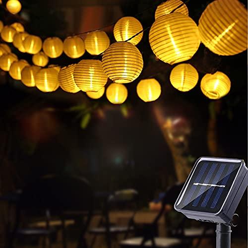 Geemoo Halloween Lichterkette Lampions, 6M 30 LED Orange Solar Lichterkette Lampions Außen, 2 Modi Wasserdicht Solar Lampions für Garten, Balkon, Halloween Dekoration