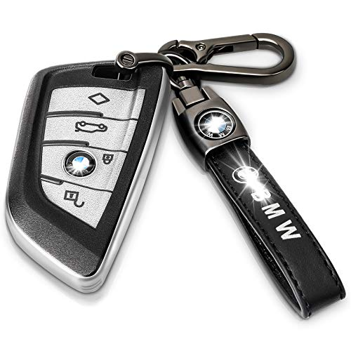 Intermerge for BMW Key Fob Cover with Genuine Leather,Premium Soft TPU Key Case Cover Compatible with BMW X1 X3 X5 X6,BMW Series 1 2 5 7 Keyless Smart Key Fob_Genuine Leather(Silver)