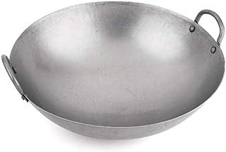 Moca Factory Wok Canontese en acier lourd martelé à la main en acier au carbone avec fond rond traditionnel (40,6 cm)