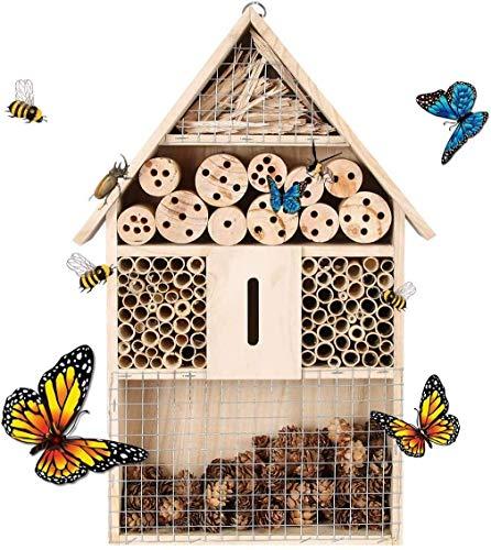 upstartech Insektenhaus,Insektenhotel,Insektenhotel Aus Holz Naturbelassenes Insekten Hotel Für Fluginsekten MarienkäferSchmetterlinge Fliegen Insektenhotel Holz HxBxT: 48 x 26x 8 cm,natur