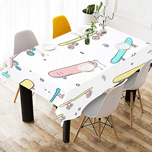 Cubierta de tabla para bebe Patineta Icono Doodle Divertido Estampado de algodon Ropa de mesa Cubierta de tela Mantel para cocina Comedor Decoracion 60x84 Pulgadas Comedor Panos de mesa Rectangulo