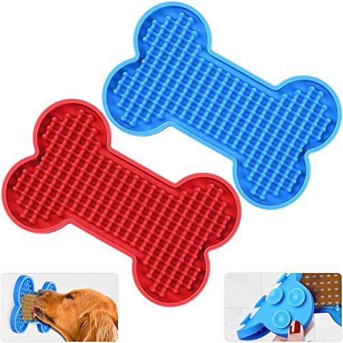 Zacro Dog Lick Mat Bath - 2 Pack Slow Dispensing Treater Dog Bath Peanut Butter Lick Pad, Lickmats...