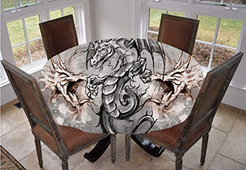 Dragon Round Tablecloth,Scary Creature in Sketch Stylized Horror Scene Monster Tattoo Art Gothic Picture Decorative Polyester Table Cloth,48 Inch,for Kitchen Dinning Tabletop Decoration Grey Umber