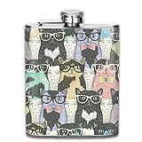 Hipster Cute Cats Wear Gafas de sol de acero inoxidable personalizado frasco de la cadera de bolsillo personalizado frasco para beber