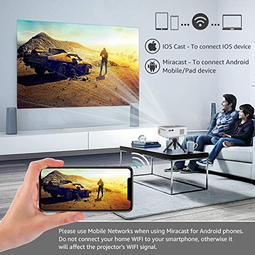 """1080P HD Projector, WiFi Projector Bluetooth Projector, FANGOR 230"""" Portable Movie Projector with Tripod, Home Theater Video Projector Compatible with TV Stick, HDMI, VGA, USB, Laptop, iOS & Android"""