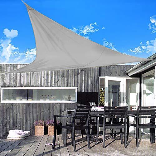 Preisvergleich Produktbild Sonnensegel,  5x5x5m,  dreieckig,  Grau,  inkl. Transporttasche & Abspannseile,  UPF 50+,  Sichtschutz und Sonnenschutz