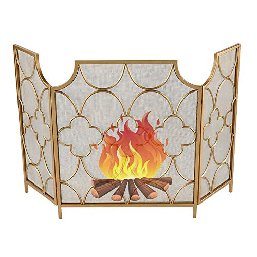 ZJM Fireplace Spark Protection 3-Panel Vintage Gold-Tone Fireplace Fire Screen, More Ornamental Fireplace Screen Metal Mesh Screen Curtain for Living Room