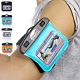 SwimCell Waterproof Case for Key, MP3 Player, Money, ID, Cards 3 x 4 inches. Adjustable Running Armband, Lanyard and Silicone Key Cover
