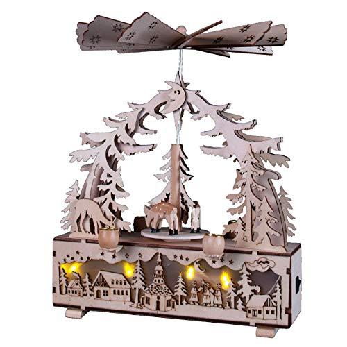 OBC Weihnachtspyramide/Rehe und Dorf Natur gelasert /, LED Beleuchtung/Pyramide Weihnachten/im Erzgebirge Stil, handgefertigt/Deko zu Weihnachten