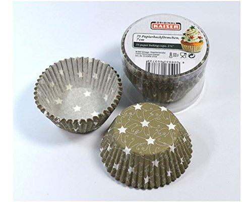 Kaiser Muffin-Papierbackförmchen olive mit Sternen aus Papier 75 Stück