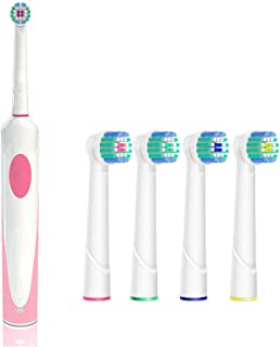 Pinwei Rechargeable Electric Toothbrush with Timer Rotating Toothbrush Power Spin Toothbrush with Replacement Brush Head 4pack - for Child and Adult, Perfect Angle Bristles Clean Each Tooth (Pink)